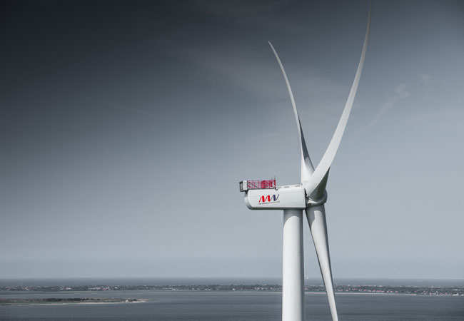 Pressebild: The most powerful serially-produced wind turbine in the world, the V164 platform's massive 80-meter blades are already capturing wind energy off the coast of the UK like no other turbine in history, giving the company volumes of real-time data and valuable experience that is already paying dividends.