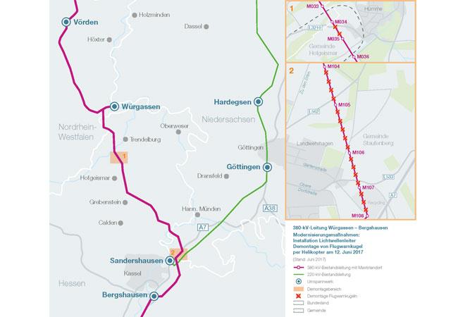 schematische Karte LWL Tausch Würgassen / Pressebild: TenneT