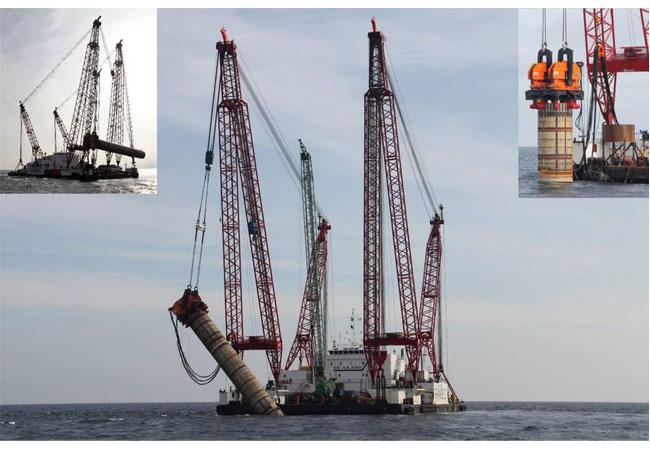 Picture 1: CAPE Holland's Vibro Lifting Tool lifting the monopile Picture 2: CAPE Holland's Vibro Lifting Tool upending the monopile Picture 3: CAPE Holland's Vibro Lifting Tool lowering the pile to the installation position