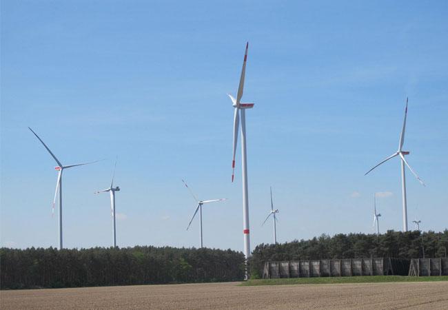 Windpark Kölsa (Gesamtansicht des Windparks), Quelle: Thüga Erneuerbare Energien