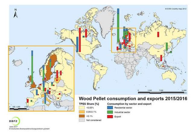 Pressebild: Länder mit relevantem Holzpelletverbrauch und/oder Export in 2015/2016 © DBFZ, 2017