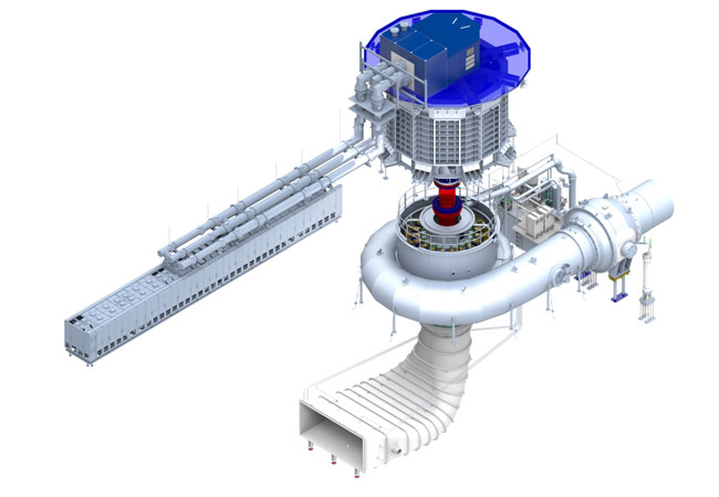 Pressebild: 3D-Modell der Maschine im Pumpspeicherkraftwerk Frades II.
