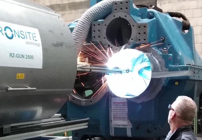 Pressebild: Bild: RONSITE Lagersitzreparatur an Getriebegehäuse 4,4t Gewicht