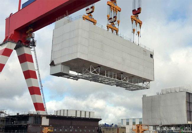 Pressebild: Kiellegung des Offshore-Umspannwerks Arkona in französischer Werft