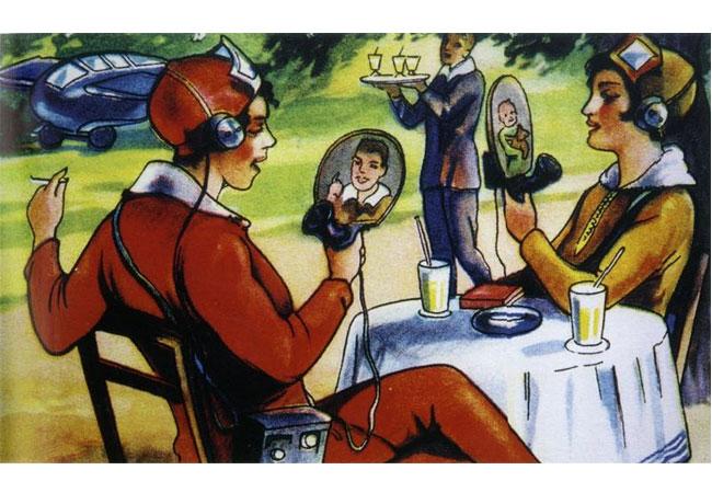 Eine Technikzukunft aus der Vergangenheit: Ein Margarinehersteller warb 1930 mit dieser Vision der mondänen Frau der Zukunft beim mobilen Bildtelefonat. Bild: LWL-Freilichtmuseum Detmold