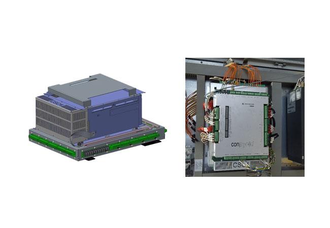 Pressebilder: Bild links: Digitales Modell des neuen CSC4-Steuergeräts von Woodward; Bild rechts: CSC4-Windumrichter beim erfolgreichen Feldtest