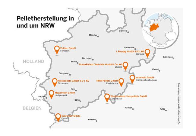 Pelletproduktion in und um NRW / Quelle: Energieagentur.NRW