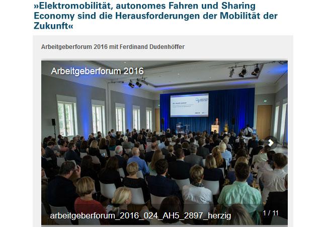 Elektromobilität - Arbeitgeberforum 2016 mit Ferdinand Dudenhöffer / Pressebild: http://www.niedersachsenmetall.de