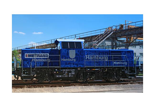 Rangierlokomotive Prima H3 von Alstom mit Hybridantrieb Im Vergleich zu herkömmlichen Rangierlokomotiven produziert die Prima H3 von Alstom mit ihrem Hybridantrieb bis zu 50 Prozent weniger CO2, andere Schadstoffemissionen werden sogar um bis zu 70 Prozent verringert. Foto: HHLA / René Kowollik