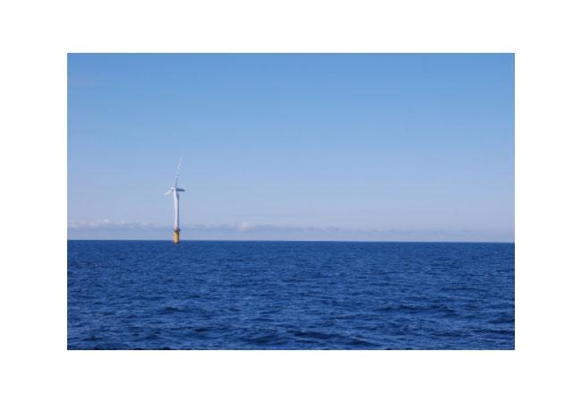 Abbildung des ersten schwimmenden Offshore-Windparks, Hywind, vor der Küste Schottlands. / Pressebild