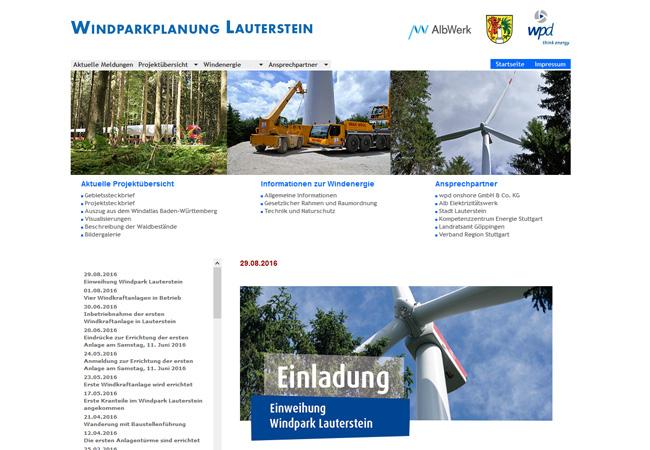 Internetseite des Windparks Lauterstein