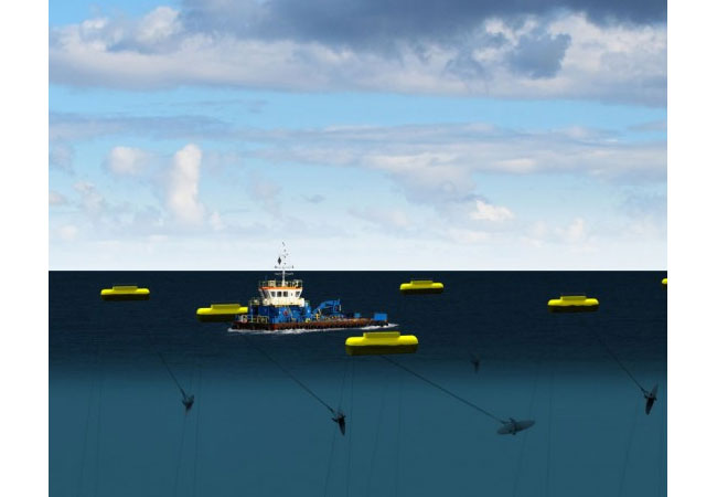 Minesto is a marine energy company whose mission is to minimize the global footprint of the energy industry by enabling commercial power production from low velocity tidal and ocean currents. / Pressebild