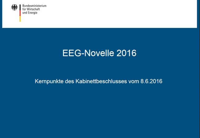 EEG-Novelle 2016, Kernpunkte des Kabinettbeschlusses vom 8.6.2016