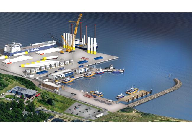 Pressebild: Skizze des Fährhafens Sassnitz, den E.ON als Logistikschwerpunkt ausgewählt hat.