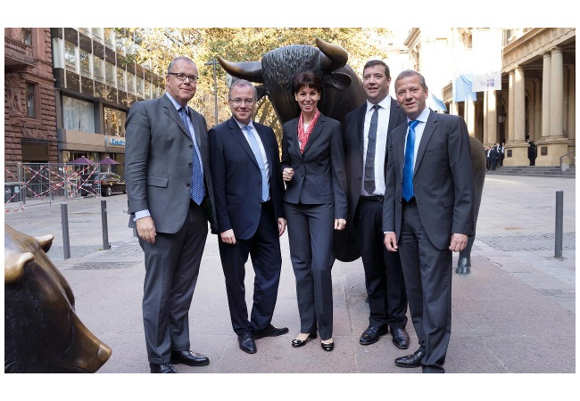 v.l.: Klaus Schäfer (CEO Uniper), Christopher Delbrück (CFO Uniper), Hauke Stars (Vorstandsmitglied Deutsche Börse AG), Keith Martin (CCO Uniper), Eckhardt Rümmler (COO Uniper) Copyright: