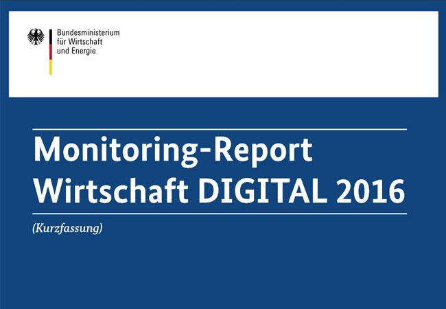 Die Digitale Wirtschaft bietet große Chancen und Potenziale für die Zukunftsfähigkeit Deutschlands. Die Durchdringung aller Wirtschaftsbereiche mit neuen Informations- und Kommunikationstechnologien (IKT) und Anwendungen ist entscheidend für die aktuelle und künftige Wettbewerbsfähigkeit des Standorts. Der Monitoring-Report Wirtschaft DIGITAL 2016 analysiert mit dem Wirtschaftsindex DIGITAL den aktuellen und künftigen Digitalisierungsgrad der deutschen gewerblichen Wirtschaft differenziert nach elf Kernbranchen (Teil 1). Mit dem Standortindex DIGITAL (Teil 2) misst er die Wettbewerbsfähigkeit der deutschen digitalen Wirtschaft, dies heißt das Zusammenspiel von IKT-Branche und Internetwirtschaft im internationalen Vergleich.