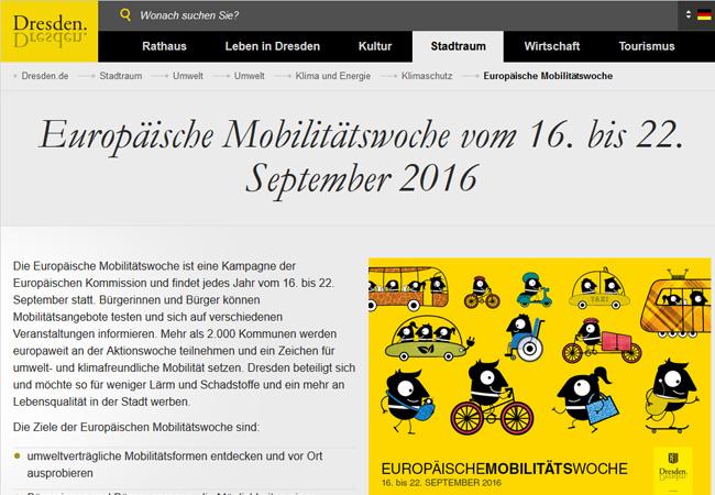 Die Stadt Dresden hat ein spannendes Programm rund um die Aktionswoche zusammengestellt: http://www.dresden.de/mobilitaetswoche