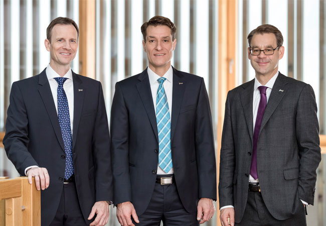 Pressebild: Der juwi-Vorstand: Stephan Hansen, Michael Class, Marcus Jentsch