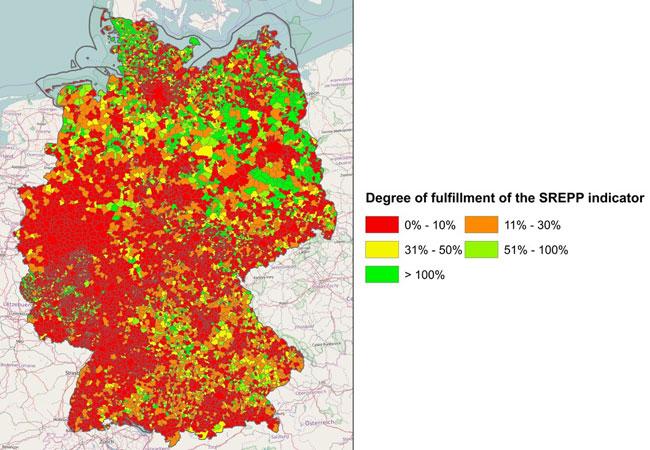 Die Energiewende-Landkarte stellt Vorreiter und Nachzügler unter allen den deutschen Gemeinden klar heraus. Als Basis dafür berechneten die Forscher einen Indikator, der nicht nur die schiere Strommenge berücksichtigt, sondern auch die Flexibilität eines dezentralen Kraftwerk-Ensembles. Foto: Applied Energy/Elsevier