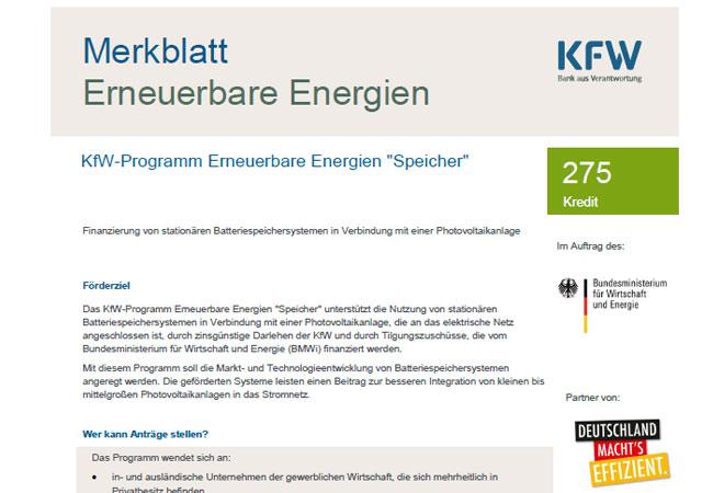 """KfW-Programm Erneuerbare Energien """"Speicher"""""""