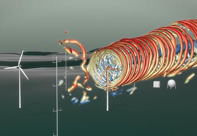 Das Standbild aus der Video-Animation visualisiert die Windströme einer Anlage auf dem Windenergie-Testfeld WINSENT. Bild: 2Dmedia/WindFors