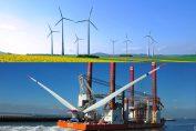 Onshore- und Offshore-Windpark Der französische installierte Onshore-Park stellt derzeit eine Leistung von über 10.000 MW zur Verfügung. / Pressebilder:
