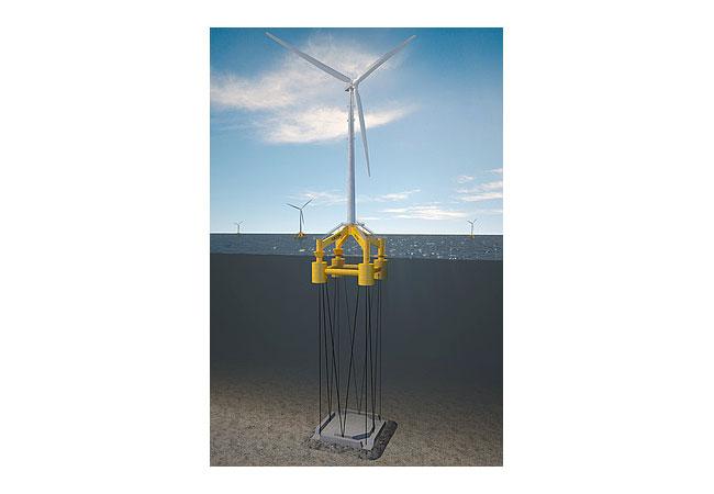 GICON®-SOF Das Schwimmende Offshore-Fundament GICON®-SOF wird nach dem Prinzip der Tension Leg Plattform mit Seilen verspannt. Die Seile verbinden das schwimmende Fundament mit dem auf dem Meeresboden liegenden Schwergewichtsanker. Bildquelle: BALTIC Taucher