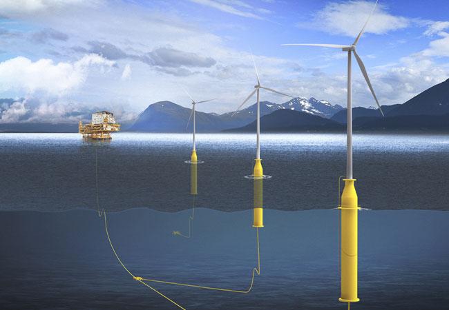 Schwimmende Windenergieanlagen – nutzen die gewaltige Windkraft auf dem offenen Meer, um umweltfreundlich Strom zu erzeugen / Pressebild