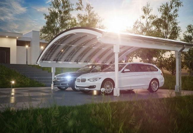 Elegant Energie sparen: Solar-Carport Modell mit Bogendach von Solarterrassen & Carportwerk / © 2016 Solarterrassen & Carportwerk GmbH