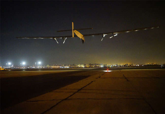 Solar Impulse taking off from Cairo for the last flight of the Round-The-World mission