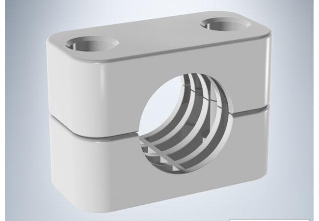 Standard-Blockschellen nach DIN 3015 aus flammhemmenden Werkstoffen / Werksbild: Walter Stauffenberg GmbH & Co. KG