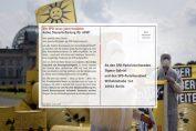 """Klappkarte: SPD-Aktion """"Brennelemente-Steuer"""""""