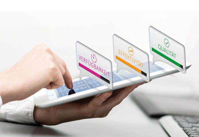 Bildunterschriften: Verfügbarkeit, Effizienz und Qualität – die neue symmedia SP/1 OEE App liefert Maschinenbetreibern Kennzahlen auf das Tablet, die Aufschluss über die Leistungsfähigkeit und Produktivität ihrer Produktionsanlagen sowie die Profitabilität einzelner Jobs geben