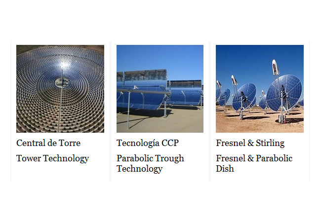 ONLINE COURSE. PARABOLIC TROUGH, CENTRAL RECEIVER, FESNEL & STIRLING
