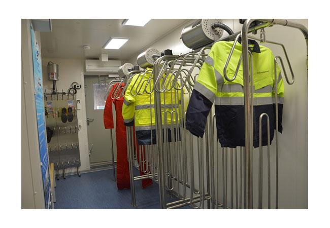 Der Container ist mit einem Trocknungssystem der Firma Pronomar ausgestattet
