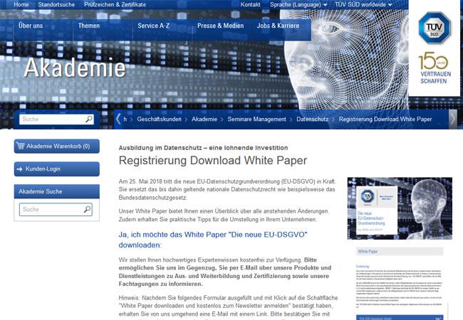 Das komplette Whitepaper finden Interessenten unter www.tuev-sued.de/akademie/DSGVO