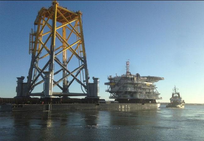 Umspannwerk für den Sandbank Offshore Windpark wird jetzt installiert / Pressebild: Vattenfall