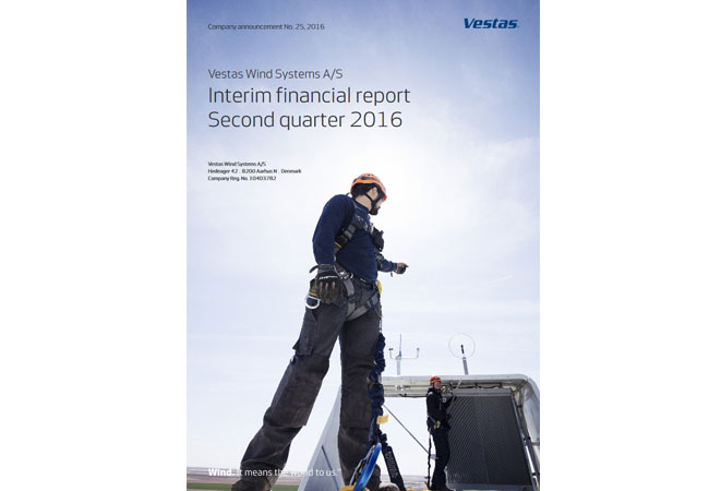 Vestas Wind Systems A/S Interim financial report Second quarter 2016