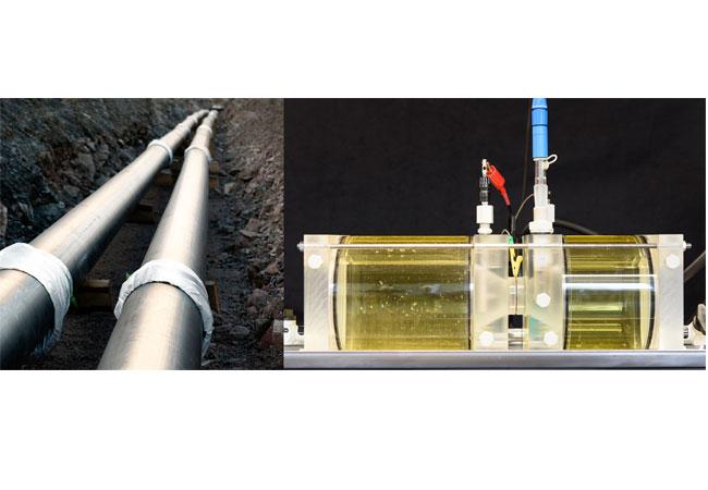 Links: Bereits verlegte Erdgasrohre sollen den Transport von wasserstoffreichen Gasen wie Erdgas-Wasserstoff-Gemische gewährleisten. (© istock, Fraunhofer IWM); Versuchsaufbau zur Bestimmung der Diffusionsgeschwindigkeit von Wasserstoff. (© Fraunhofer IWM)